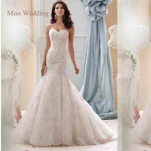 4de80a7f74f2 Luxury Floral Lace Applique Mermaid Wedding Dress Real Picture Strapless  Court Train Two Layers Lace Skirt Bridal Gown P25