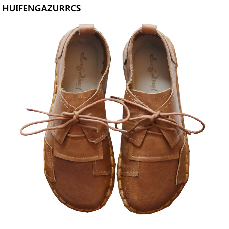 HUIFENGAZURRCS-Head layer cowhide pure handmade shoes, the retro art mori girl shoes,Women's casual shoes Simple Flats shoes huifengazurrcs new head layer cowhide