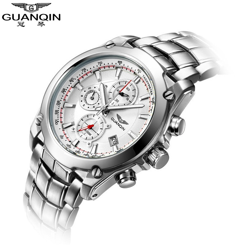 ФОТО GUANQIN Men Watches 2017 Quartz Watch Luminous Waterproof Date Stainless Steel Chronograph Sport Watches for Men Wristwatch Mens