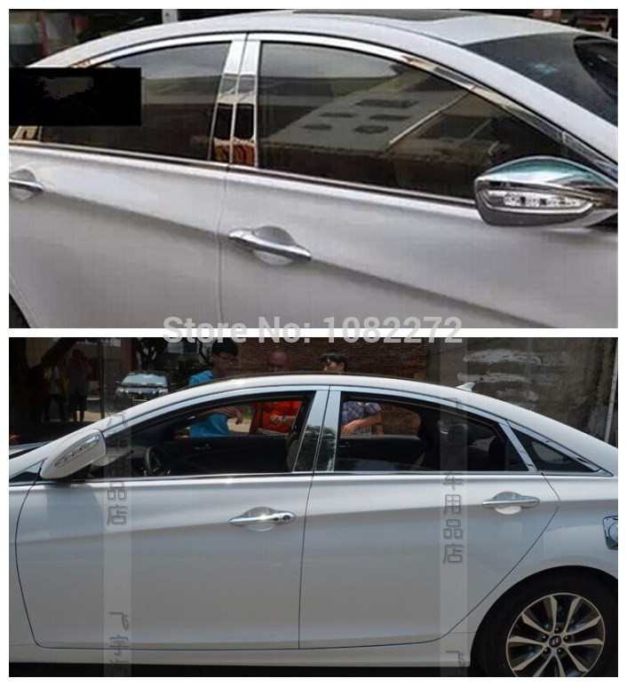 Chrome Stainless Steel Window Frame Pillar Molding Sill Trim Cover For Hyundai Sonata 8 2011-2014 stainless steel upper window frame sill trim 8pcs for fusion mondeo 2013 2014