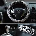 Discount Women Universal Plush Leopard Car Steering Wheel Covers & Gear & Hand brake Cover 3pcs Set - Black White