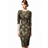 Office Dress Women Plus Size S 3xl Rose Foiled Lustrous 3 4 Sleeve O Neck Midi
