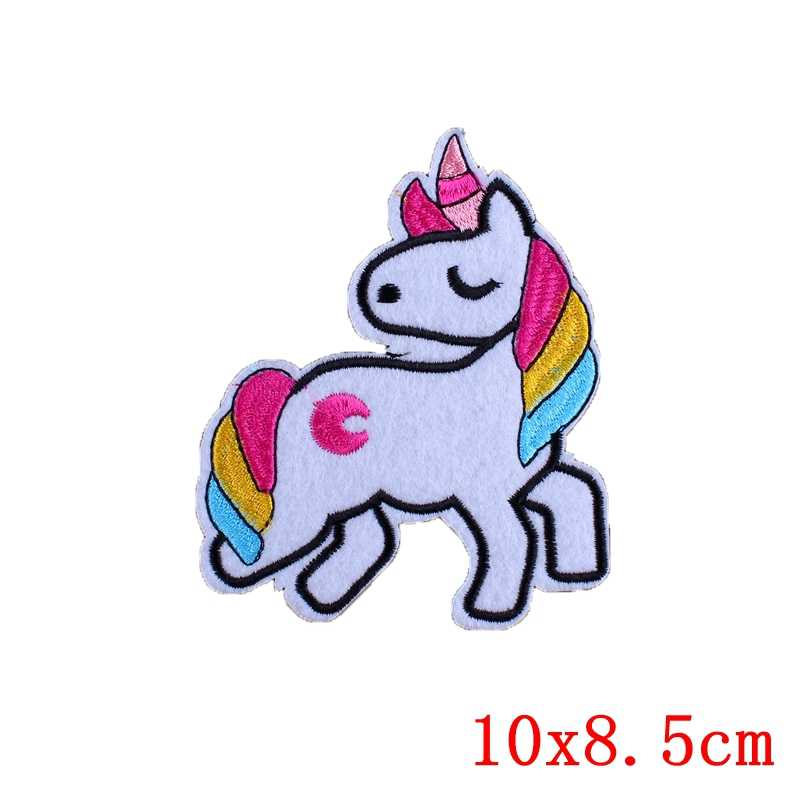 Unique Rainbow Unicorn Pony Patch Badges For Bags Parche Anime Iron On Patch Sew Embroidery Fabric Stickers For Baby Clothes D