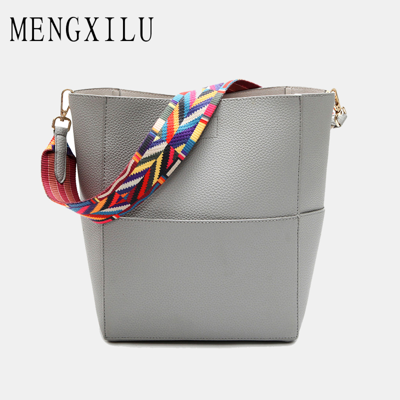 MENGXILU 2 Set Women Bags Handbags Women Famous Brand Fashion Designer Color Straps Handbag and Purse High Quality Lady Bag 2018