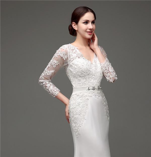 Floor-Length V-Neck Lace Chiffon Full Sleeves Wedding Dress 7