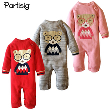 partisig Cartoon Thickened Romper For Baby Girl Boy Winter