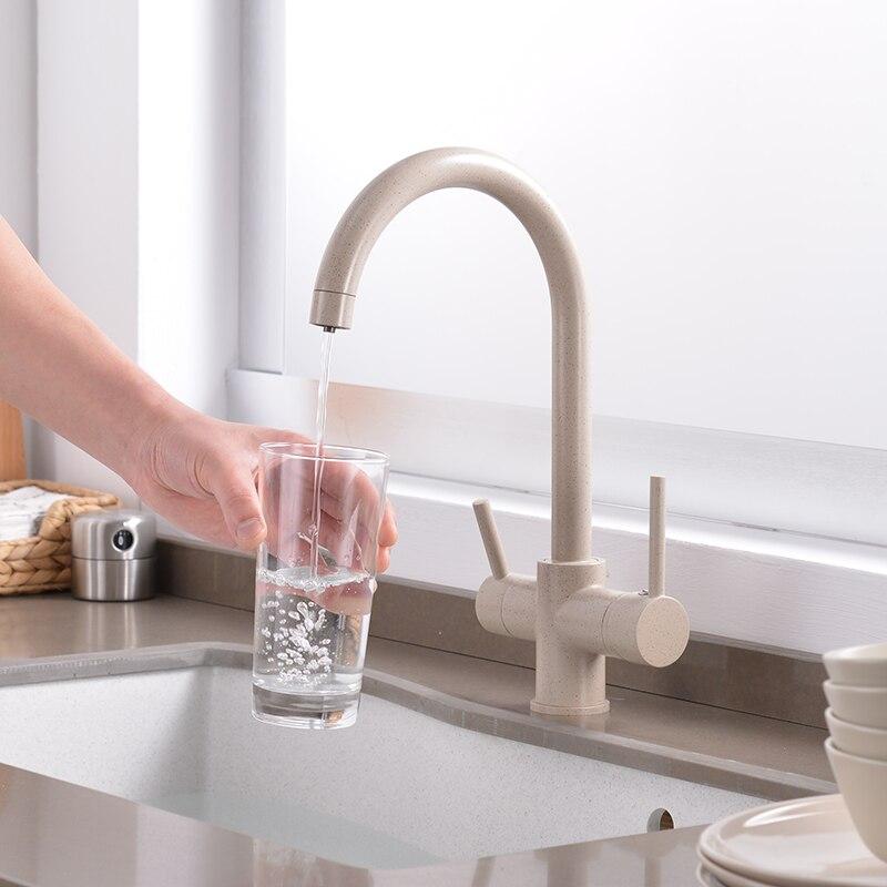 Бежевый изгиб очистки питьевой воды коснитесь Кухня Смеситель для мойки Дизайн 360 градусов вращения фильтруют Кухня кран двойной ручкой