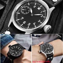 44mm corgeut black sterile dial PVD case Sapphire Glass hand winding mens Watch corgeut 44mm black dial stainless steel case watch green lume marks hand winding 6498 mens wristwatches cm2002asg