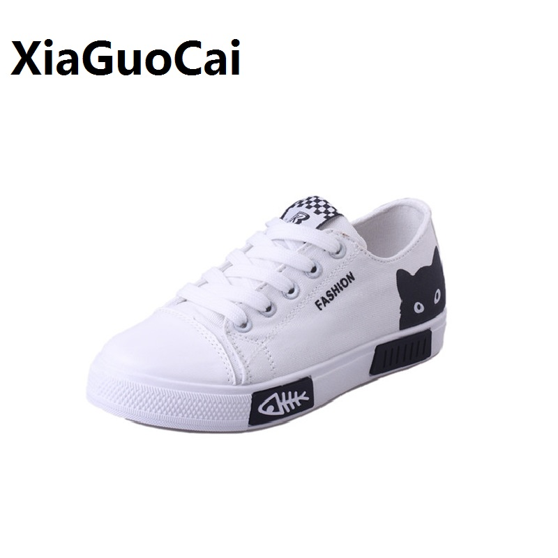 Scarpe estive per donna Casual Traspirante Tela Cartoon Cat Lace Up - Scarpe da donna