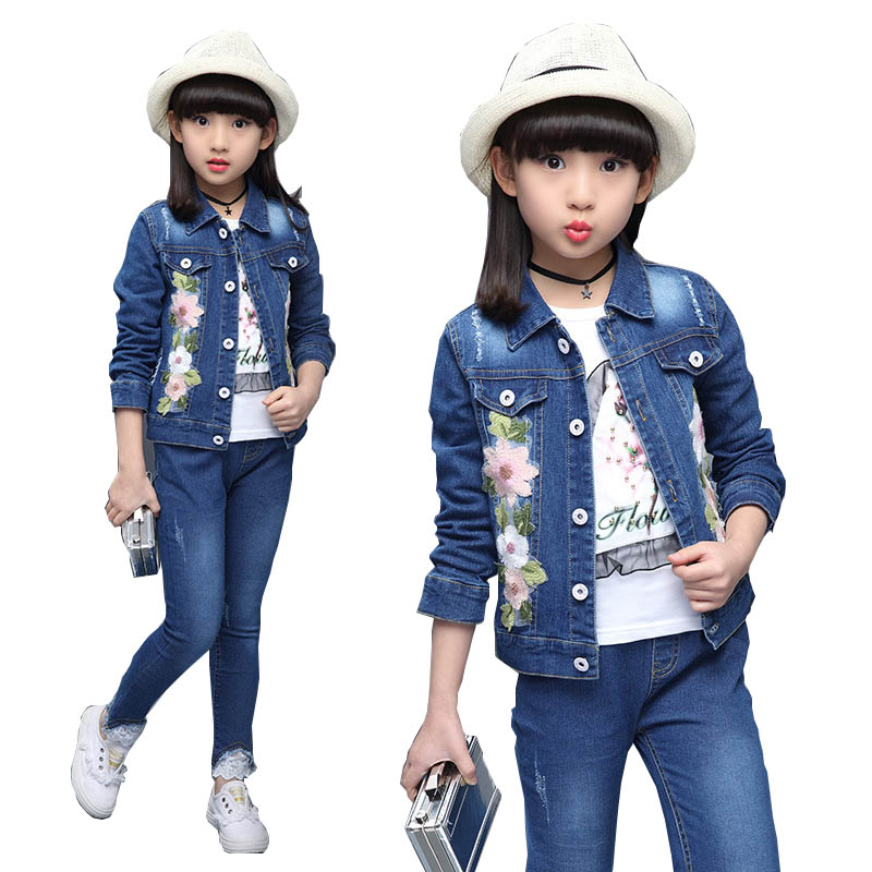 Kids Tracksuit 2018 Autumn Girls Clothes Sets Denim Coat Pants T Shirt Fashion Suit Girls Outfits Children Clothing Set 13 Year 唐圭璋推荐唐宋词