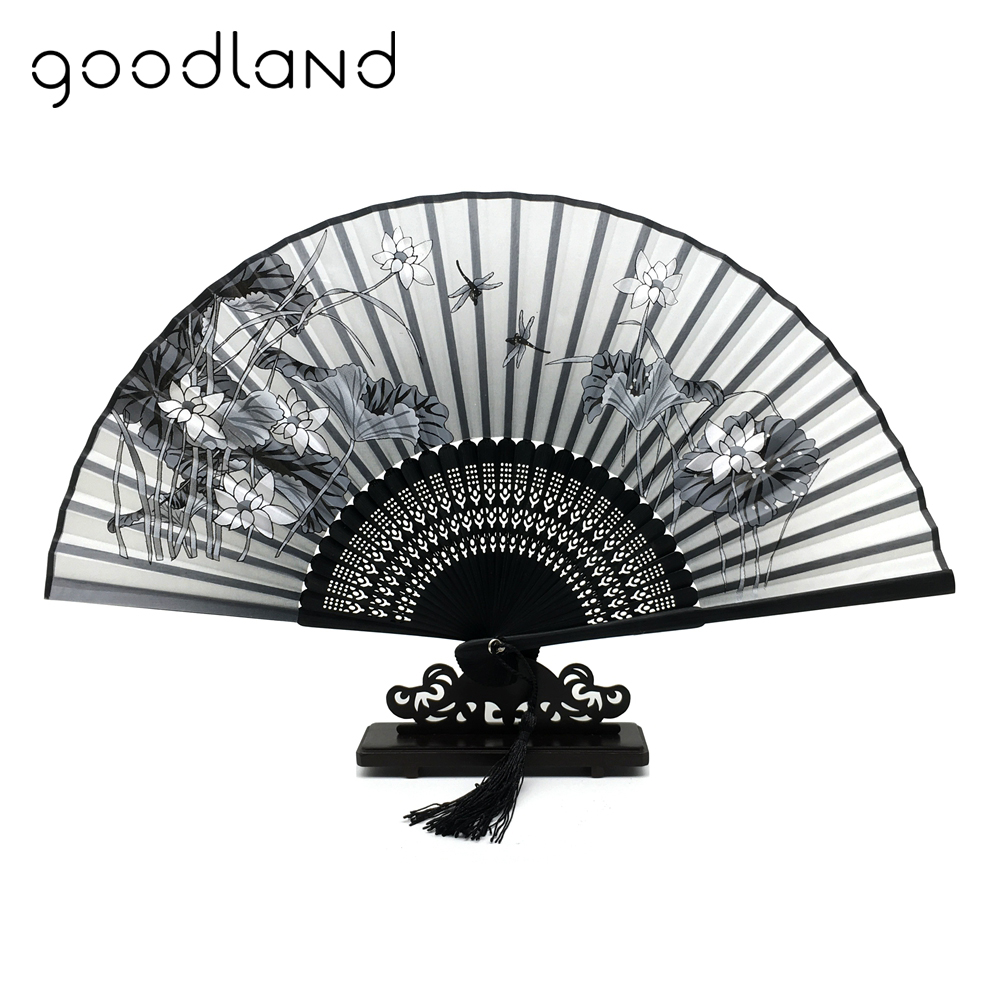 Gratis frakt 1pcs 100% Bamboo Folding Silke Hånd Fan Flower Wedding Favor Fan Hjem Dekor Tilbehør Gaver For Women Girls