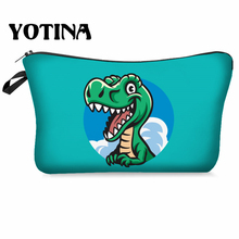 Yotina Makeup Bag Women Cosmetic With Multicolor Pattern  Dinosaur 3D Printing neceser Toiletry Travel makeup Organizer