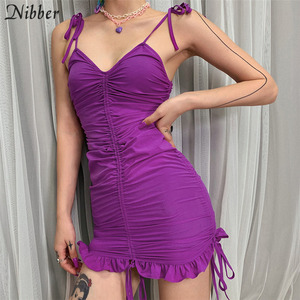 Nibber fashion club party night Ruffle bodycon mini dresses womens2019summer hot sale Elegant purple short lace up dresses mujer