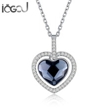 IOGOU Deep Blue Heart Halo Pendant Necklace Pure 925 Sterling Silver Cross Chain Wholesales Birthday Party Show