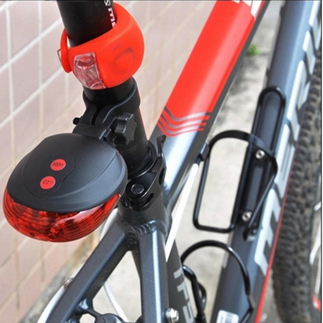 Iguardor Bicycle Light 5 LEDs Laser Tail Light Bike Rear Safety Warning Parallel Intersection Line Light Cycling Accessories