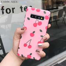 YHBBCASES For Samsung Galaxy S10 Plus S8 S9 Rero Phone Cover Cartoon Lovely Cherry Soft Cases Note 8 9 Pink IMD Case