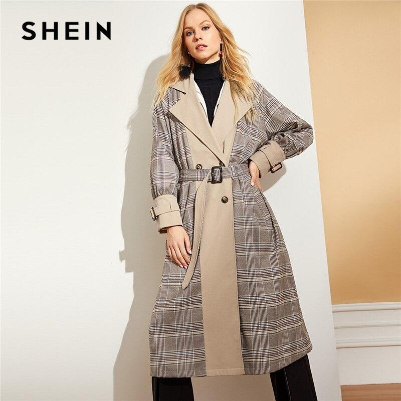 SHEIN Multicolor Senhora Do Escritório Elegante Pescoço Entalhado Cintura Minimalista Xadrez Com Cinto Brasão 2018 Nova Outono Mulheres Casacos E Outwear