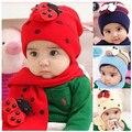 Otoño invierno bebé del casquillo del sombrero bufanda twinset algodón Beatles sombrero niños hat + scarf Toddler animal