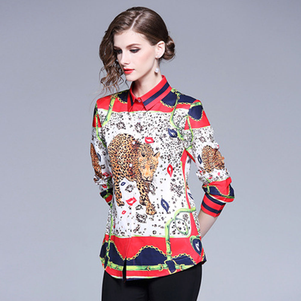 JKKFZY 2018 New Women Animal Print Shirt Button Decoration Long-Sleeved Lapel Casual Blouse women