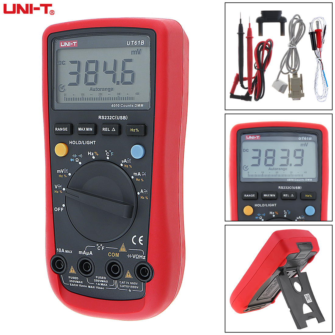 LCD Display Precision Digital Multimeter Voltmeter AC DC Voltage Current Tester Multi Meter with RS232C / USB Standard Line excel dt9205a 3 lcd digital multimeter black orange 1 x 6f22