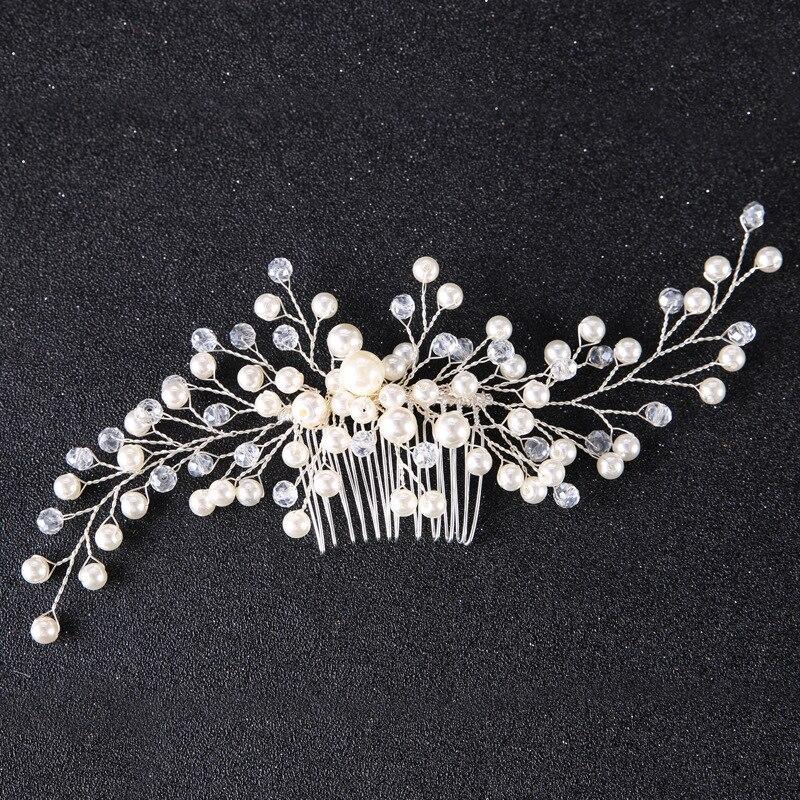 Hair-Comb Jewelry Bride-Head-Piece Crystal Wedding-Hair Handmade Floral Women