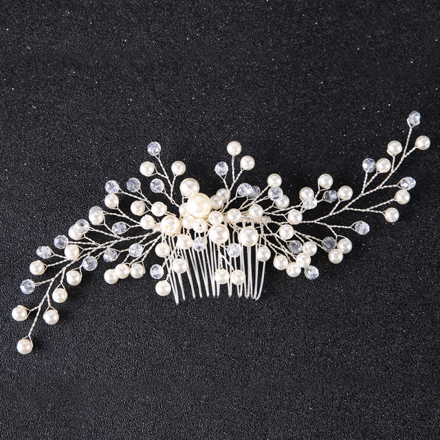 Floral Crystal Hair comb Wedding Hair jewelry Bridal Headpiece Bridesmaid Hair a