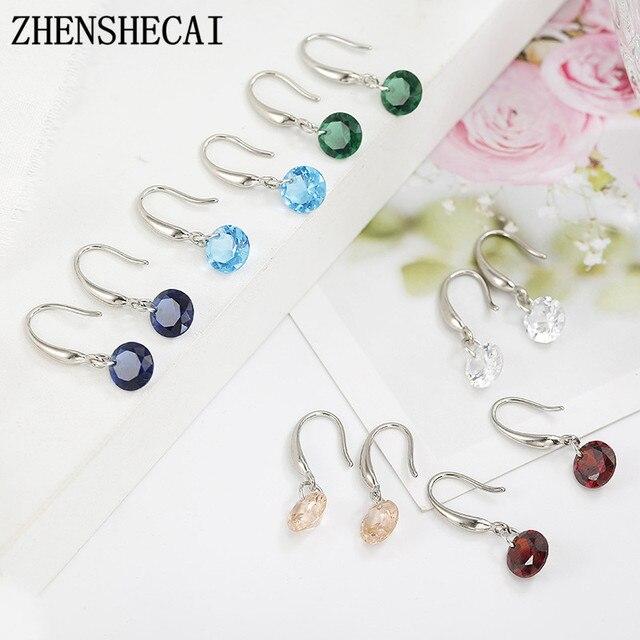 6 Color Luxury Female zircon Drop Earrings Silver color Crystal Round Earrings For Women small cute ear Jewelry Wholesale