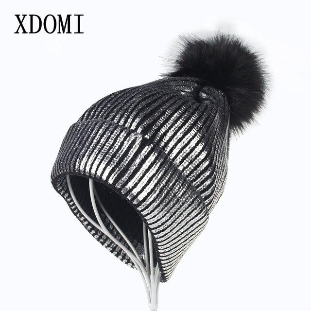 fa918024a46e03 XDOMI 2017 Women Autumn Winter Hat for Girls Gold Silver Metalli Knitted  Skullies Beanies Hats Real Fox Fur Ball Cap Pompom Hats