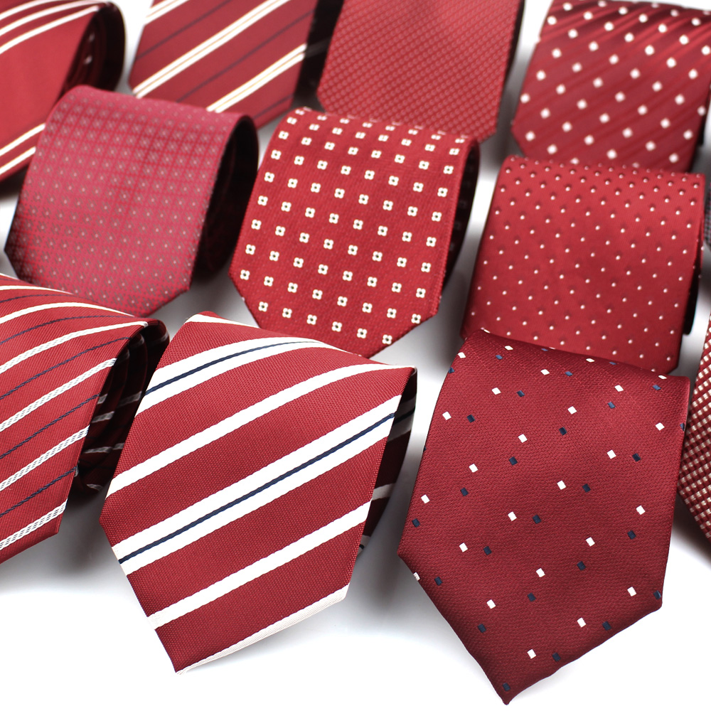 Red Color Striped Neck Tie For Men Women Classic Men Ties Fashion Plaid Tie Groom Neck Tie For Party Wedding Adult Cravat