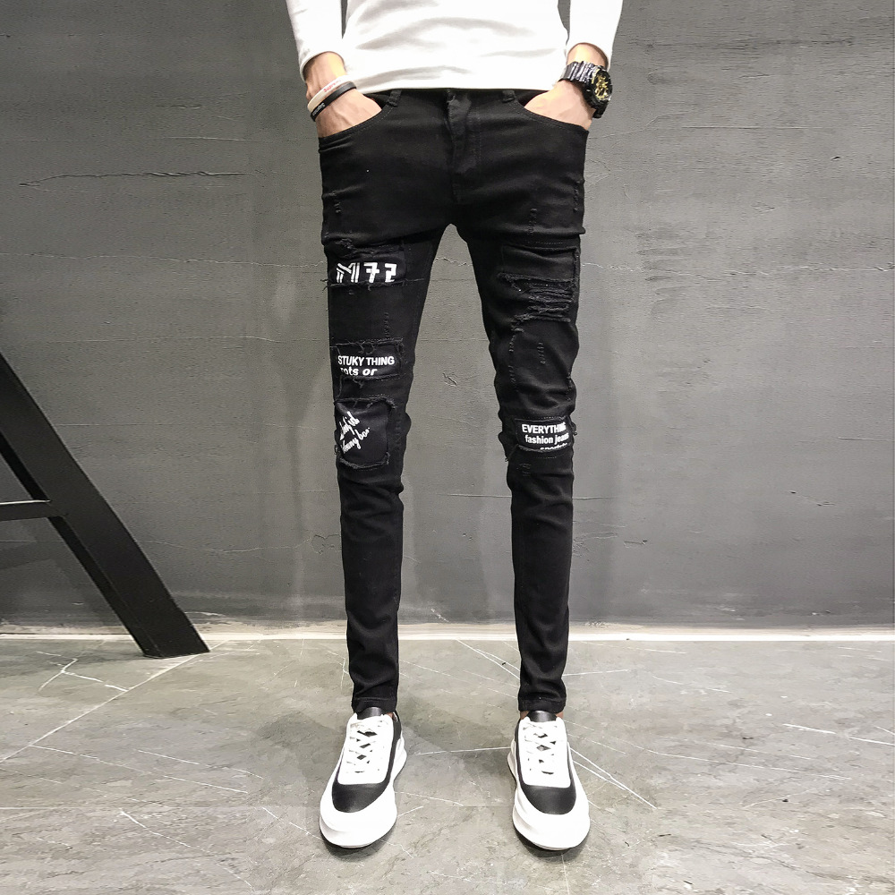Autumn New   Jeans   Men Brand Black Slim Fit Casual Pants Men Personality Patch Design Denim Men Skinny   Jeans   Hip Hop Trousers Men