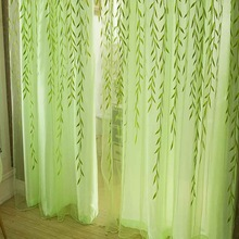 Cute Willow Leaf Tulle Gardiner Blinds Voile Pastoral Style Willow Floral Vindue Dekorative korthaller til soveværelse Stue