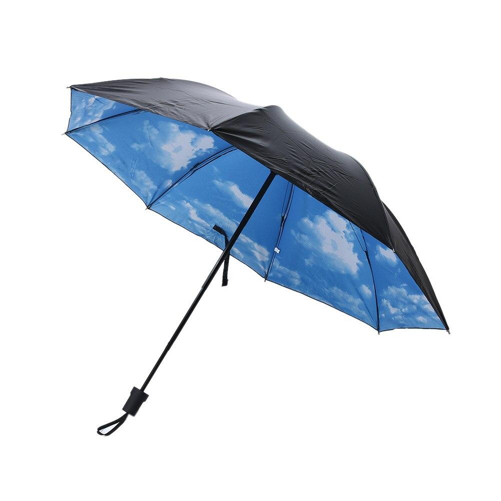 Summer Folding Rainy Umbrella Anti-UV Rainproof Umbrellas Sun Protection Parasol Blue Sky White Clouds Printed Sun Female