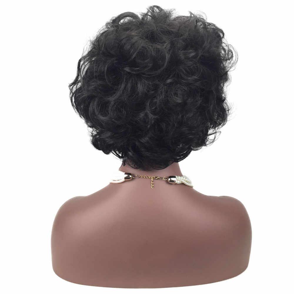 Цена по прейскуранту завода 1 шт. женский модный женский накладной парик черный натуральный короткий кудрявый прическа синтетические волосы Парики Инструменты для укладки Apr29
