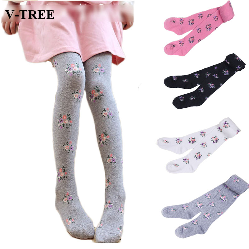 V-TREE 2017 baby clothing tights children tights for girls cotton child pantyhose flower kids pantyhose warm stockings rib knit tights