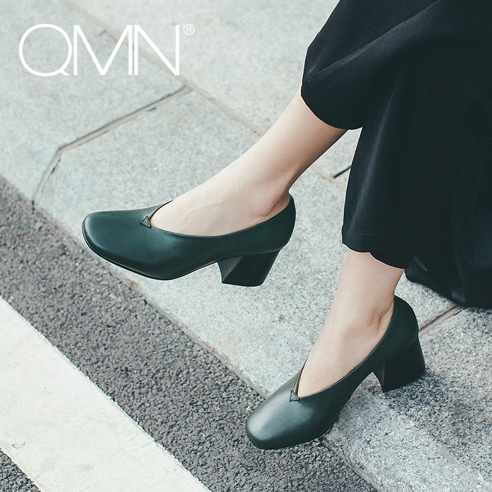 ФОТО QMN women genuine leather pumps Women Retro Square Toe Block Heels Shoes Woman 2017 New Leather Pumps