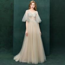 d5bab26d25 Fairy Tulle V-neck Backless Long Robe De Soiree Luxury Crystal Beading  Pleated A-