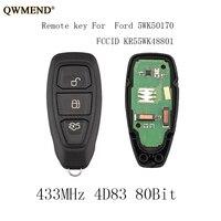 QWMEND 3 Button 433Mhz Complete Remote Key for Ford Fiesta Focus C Max, Keyless 80 Bit KF4 2012 2016 KR55WK48801 4D83 Key