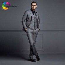 Italian Grey Men Suits for Wedding Slim Fit Groom Tuxedos Custom Made Man Blazer Masculino Jacket Pants Vest 3 Piece Ternos