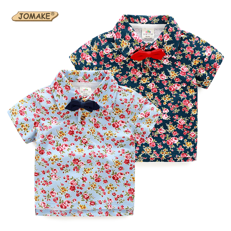 Floral Boys T Shirt Retro Fashion Bow Tie Short Sleeve Boy Shirts Summer Style Kids Clothes ...