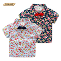 Floral Boys T-shirt Retro Fashion Bow Tie Short Sleeve Boy Shirts Summer Style Kids Clothes Brand Designer Toddler Boy Clothing