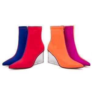 Image 4 - MORAZORA/Новое поступление 2020 года; женские ботильоны; разноцветные ботинки с эластичными носками на молнии; прозрачные женские модельные туфли на танкетке для вечеринок