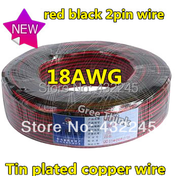 10M/lot. 18AWG LED Wire, LED Cable,Red Black 2pin Wire, Antioxidant  Tin Plated Copper Wire ,Easy To Welding.Free Shipping.