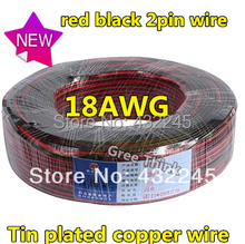 10M/lot. 18AWG LED Wire, LED Cable,Red Black 2pin Wire, Antioxidant Tin Plated Copper Wire ,Easy To Welding.Free Shipping.(China (Mainland))