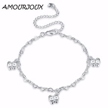 AMOURJOUX Flying Butterfly Charm Silver Plated Anklets For Women Ankle Bracelet On The Leg Anklet Silver Foot Jewelry