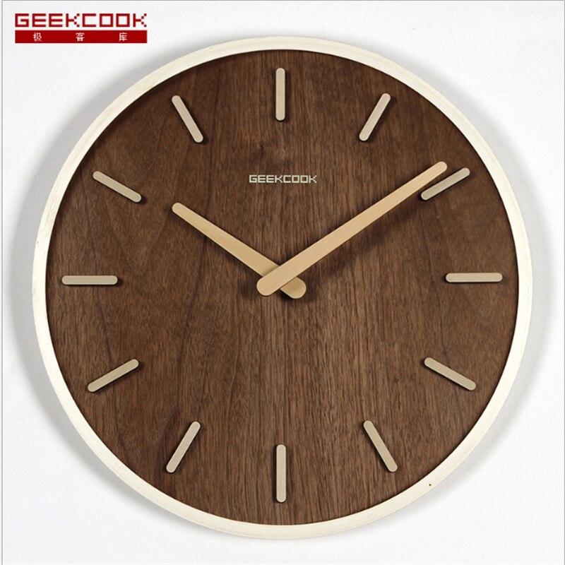 Geekcook 2019 Wall Clock Modern Design Wooden Silent Wall Clock Antique Brief Large Wall Clocks Vintage Silent Design Durable