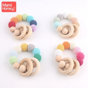 Image 3 - mamihome 100pcs 25mm 70mm Wood Teething Wooden Ring DIY Necklace Rattles wooden blank teether Nurse Gifts ChildrenS Goods toys