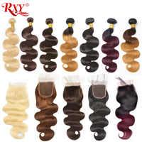 Braziliaanse Body Wave Met Sluiting Ombre Bundels Met Sluiting 1b/99j 1b/4/27 1b/27 #613 Human Hair 3 Bundels Met Sluiting Remy