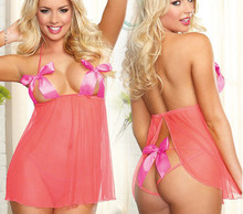 2015 sexy lingerie fashion temptation hot open behind lace up plus size gauze nightgown bowknot font