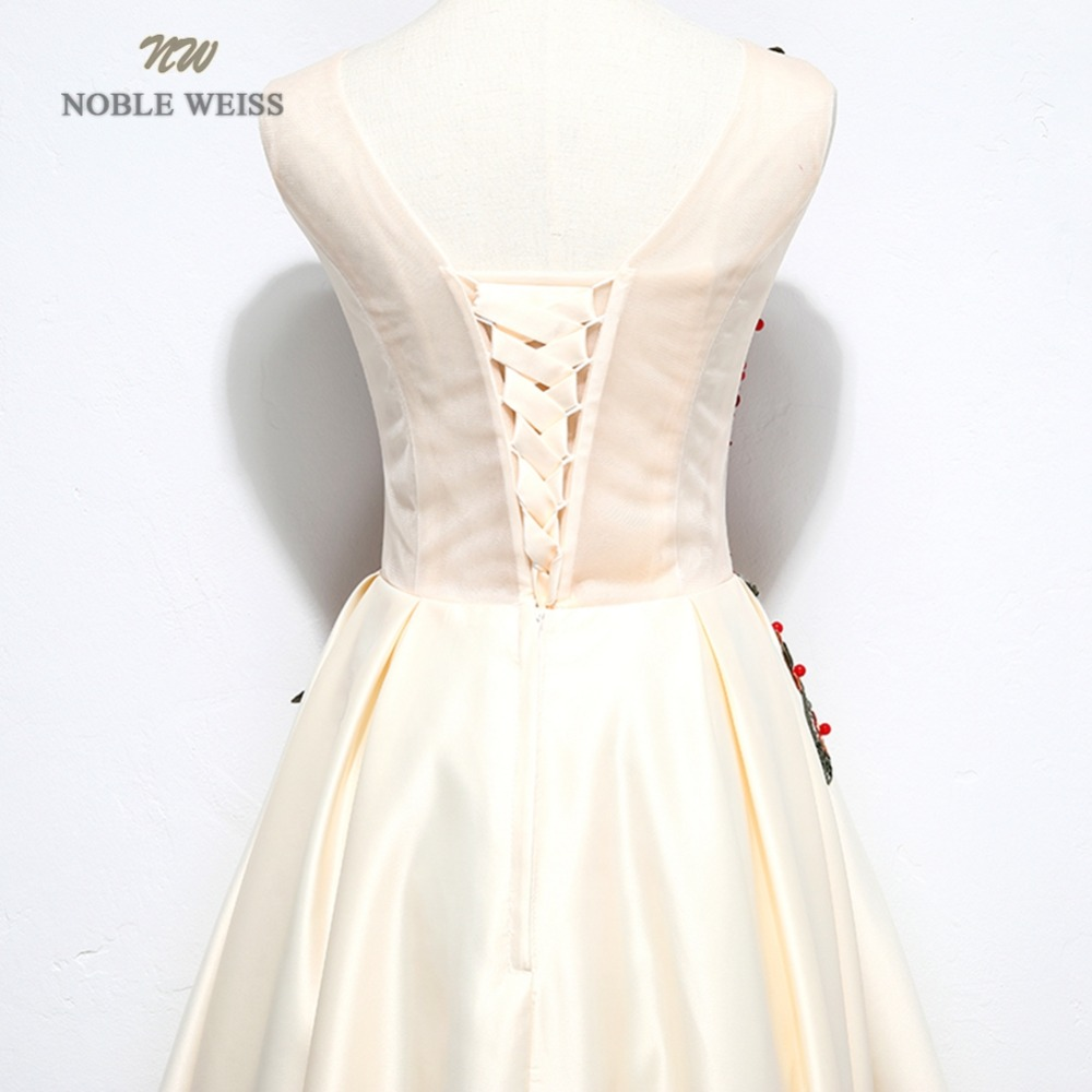 NOBLE WEISS Champagne Prom Dresses Flower Appliques Beading Robe De Soiree Asymmetrical Sexy New Style Satin Prom Gown