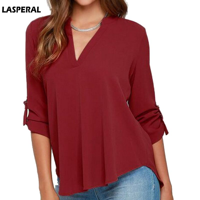 LASPERAL 2018 Fashion Brand Blouse Shirt V Neck Sexy Plus Size Clothe Chiffon Blusas Feminina Clothing Summer Women Top Pullover